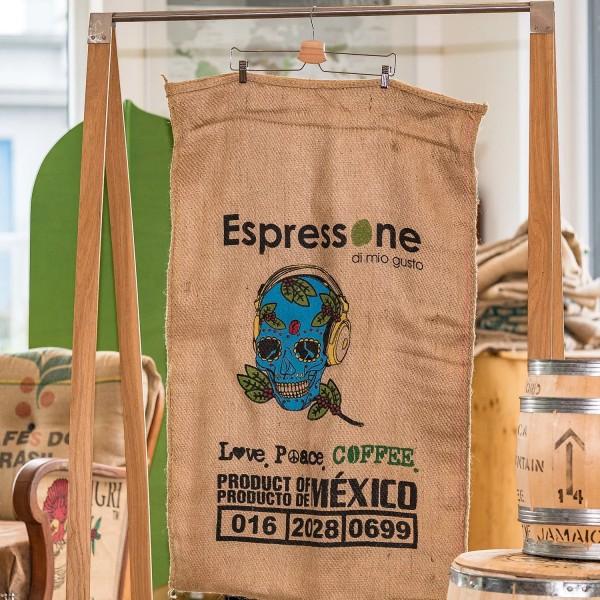 Kaffeesack aus Mexiko mit blauem Totenkopf 0