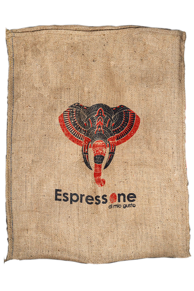 Kaffeesack aus Indien Elefant rot Vorderseite