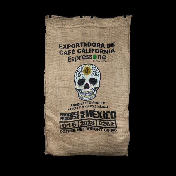 Kaffeesack aus Mexiko mit weissem Totenkopf Vorne