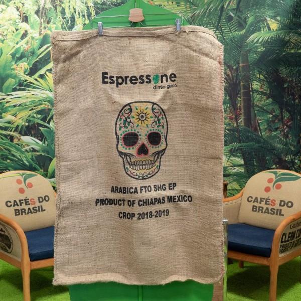 Kaffeesack aus Mexiko mit Totenkopf Vorderseite